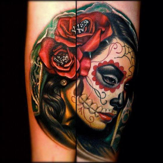caveira mexicana tatuada