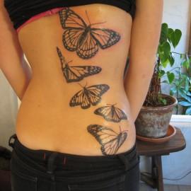 tatuagens nas costas borboletas